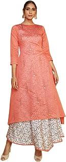 9183 Peach Pink Ready To Wear Indian Chanderi Cotton Kurti Digital Printed Work Pakistani Muslim Dress Women Girls