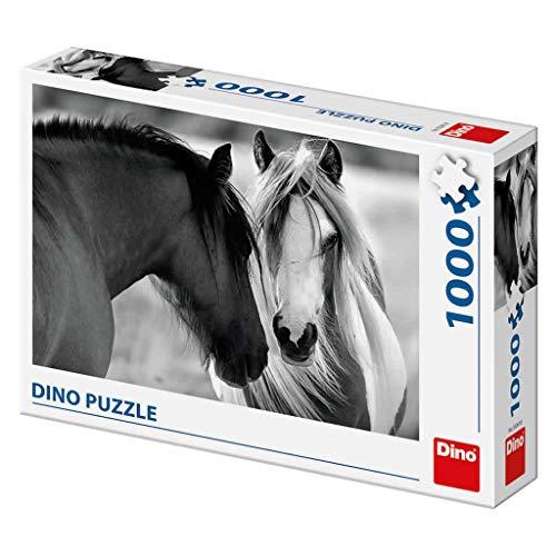 Dino Toys 532618 Dino Puzzle schwarz-weiße Pferde, 1000 Teile, Mehrfarbig