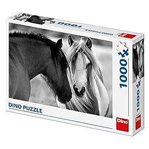 Dino Toys (DINR7) Puzzle (1000 Unidades), diseño de Caballos en Blanco y Negro, Multicolor Toys sro Dino_532618