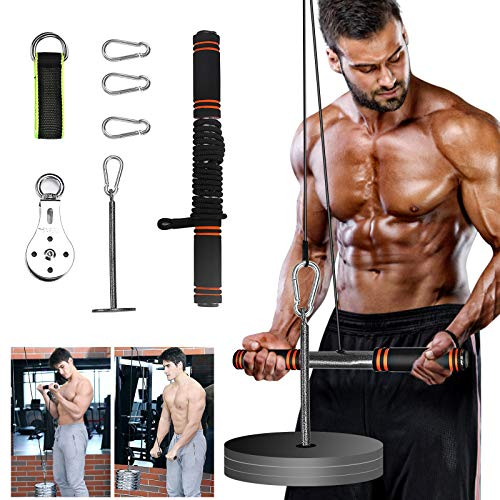 PELLOR LAT Pull Down Machine, Power Tower Adjustable Forearm Wrist Roller Trainer, Arm Strength Training Machine Exercise Pulley Cable System Gym Equipment for Home Workouts