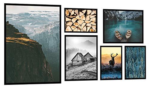 PoStar KP008 Moderne Kunstdruck Poster deko Berglandschaft mit Rahmen Bild Winter 6er Set