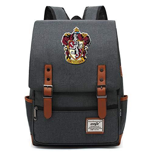 MMZ Mochila de Harry Potter para niños Bolsa de Libros Liviana Bolsa de Almuerzo para niños Multifuncional Gryffindor Gris Oscuro