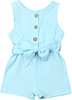 طفلة الصيف أكمام اللباس بذلة كيد الوليد رومبير الاطفال هدية 0-18 متر (Color : Blue, Kid Size : 12M)