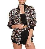 Cresay Women's Sequin Fitted Long Sleeve Zipper...