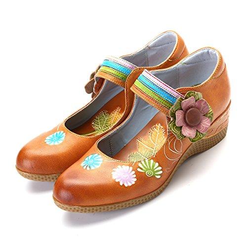 gracosy Zapatos de Cuero Mocasín para Mujer Zapatos Casuales Hechos a Mano Zapatos de cuña Confort Merceditas Sandalias Planas para Verano Zapatos Planos de Velcro Rojo Verde Amarillo Zapatillas