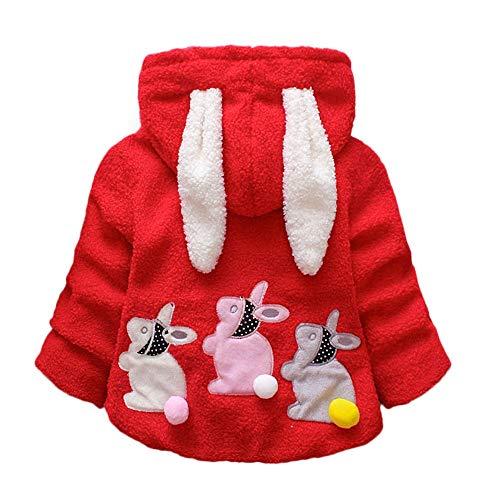 FeiliandaJJ Baby Mädchen Mit Kapuze Fleece Jacke Säugling Kinder Winter Cute Kaninchenohr Zipper Dicke Warme Coat Mantel Outerwear (90 (12~18Monate), Rot)