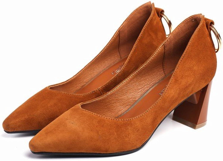 SED Spring Spitz High-Heeled Schuhe Runde Schnalle Temperament Temperament Dick mit Frauen 'S Singles Schuhe  Kostenloser Versand!