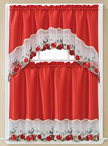 """Beatrice Home 3pc Kitchen Curtain and Valance Set/1 Swag Valance and 2 Tiers,2 Tiers Width 30""""x 36"""" Each and The Valance Length 60""""x36"""" (Red Apple)"""