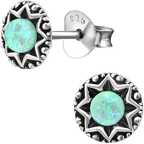 EYS JEWELRY Damen Opal Ohrringe rund 6 mm 925 Sterling Silber oxidiert türkis blau grün Ohrstecker...