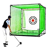 Galileo Golf Net Hitting Cage Practice Driving Net High Impact Double Back Stop with Target Training Aids Automatic Ball Return Net for Backyard 7X7X7FT(2.1mX2.1mX2.1m) Indoor&Outdoor