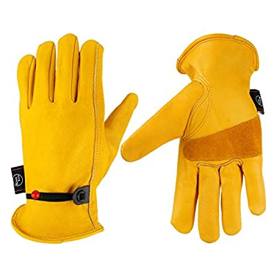 KIM YUAN Leather Work Gloves for Gardening/Cutting/Construction/Motorcycle, Men & Women M L XL