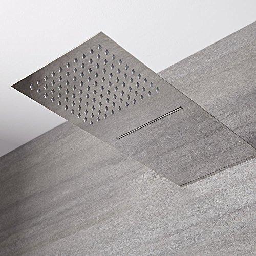 Hudson Reed Trenton Soffione Doccia Rettangolare Ultrasottile da Parete - Effetto Cascata e Pioggia - Doccione a 2 Vie - 200 x 500 x 25mm