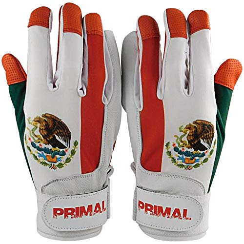 Mexico Baseball Batting Gloves Pitted Leather Lycra Spandex Backing (Large)