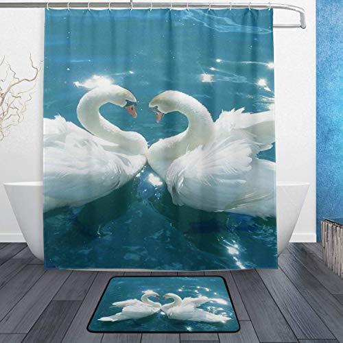 AdaCrazy Tier-Serie Dekoration Schwan Hintergr&muster Duschvorhang 3D-Druck Wasserdicht beschichtetes Polyestergewebe Bad mit 12 Haken 71 Zoll 60x40cm