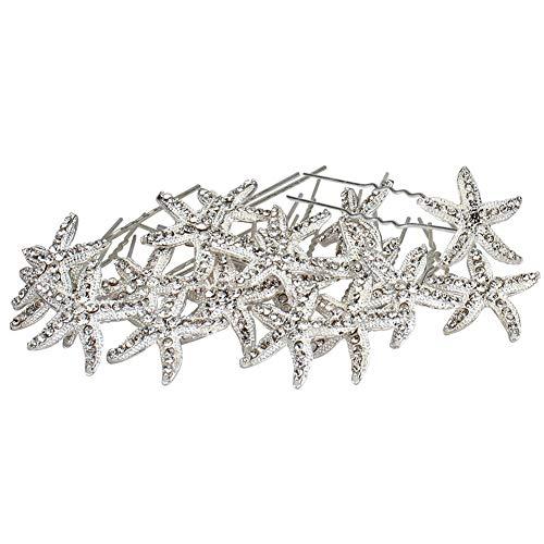 Yantu 20pcs Clear Crystal Hair Pins for Wedding Starfish Bridal Wedding Hair Pin Clip Accessories (starfish)