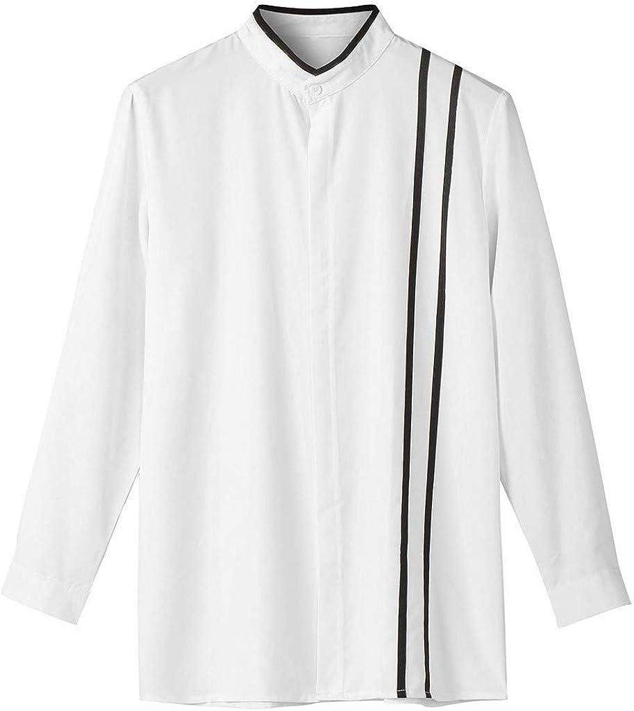Men Slim Fit Button Up Shirt 3XL Long Sleeve Blouse T Shirt Big and Tall Loose Henleys Shirt Striped Dress Shirt Tees Top