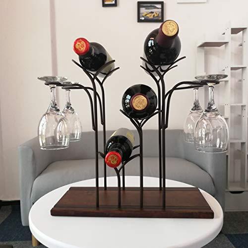 YGYQZ Weinregal aus Holz Flaschenregal zum Hinstellen | Eiche & Metall Weinregal Vintage | Regal mit Weinregal Modern Hängegestell | Multifunktionales Wein- und Weinglasregal
