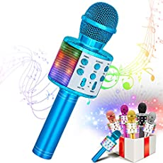 VERKB Kids Karaoke Machines Toy for 3-12 Year Girls, Bluetooth Karaoke Wireless Microphone with LED Lights for Children's Gift Toy (Blue)