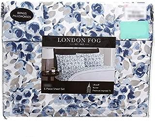 London Fog Blue Floral Sheet Set - King Size (2 Bonus Pillowcases)