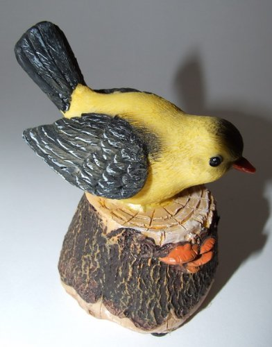 """Bewegungsmelder """"Polyresin-Vogel"""" Fink mit Vogelstimme, ca. 10 cm"""