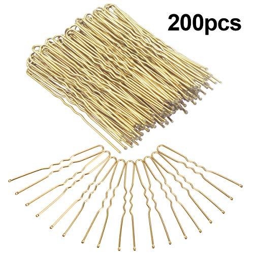 Dokpav 200 Stück Haarnadeln, U Form Bobby Pins Haarspangen Gold für Mädchen und Frauen.