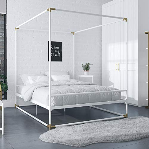 CosmoLiving by Cosmopolitan CosmoLiving Celeste Canopy Metal, Full Size Frame, White/Gold Bed