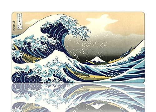 Large Mouse Pad Art Wave Mouse Mat Gaming XL Long Mousepad Computer Non-Slip for Full Desk 15.8x29.5 in