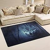 #Teppich #Wolf #Wald #blau #Wohnzimmer #Schlafzimmer 31x20 Inch (ca. 79x51 cm) oder 60x39 Inch (ca. 152x99 cm)
