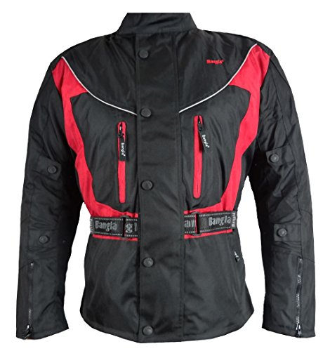 Ledershop-online Bangla 017a Motorrad Jacke Motorradjacke Textil wasserdicht schwarz-rot XXL