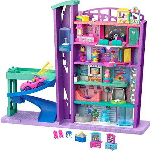 Polly Pocket Mega Mall with 6 Floors, Elevator, Vehicle, Parking Garage, Micro Polly & Lila Dolls, Dog & Storytelling Play Pieces; for Ages 4 and Up