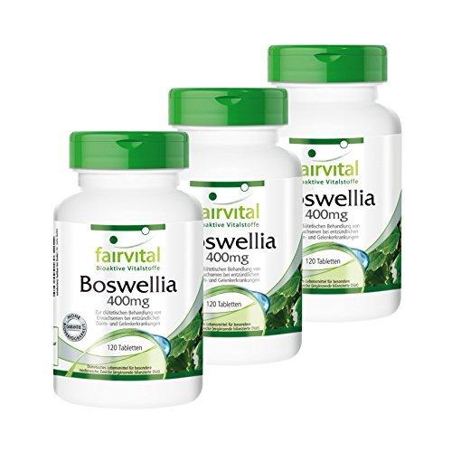Encens Boswellia 400mg - 360 comprimés (120x3) - VEGAN - Boswellia serrata avec 65% d'acide boswellique