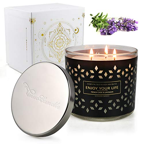 Scented Jar Candles for Home,3 Wick Aromatherapy Large Candles,125 Hours 14.5Oz Natural Soy Wax Lavender Juniper Candles Gifts for Women