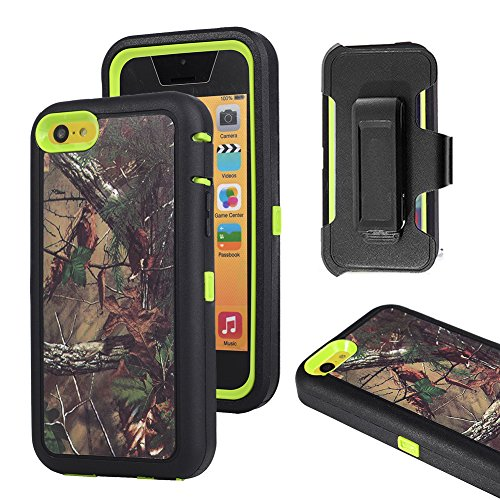 iPhone 5c Case, Harsel Defender Series Heavy Duty Tree Camouflage High Impact Tough Rugged Armor Hybrid Protective Military Built-in Screen Protector Case Cover for iPhone 5C (Forest/Green)