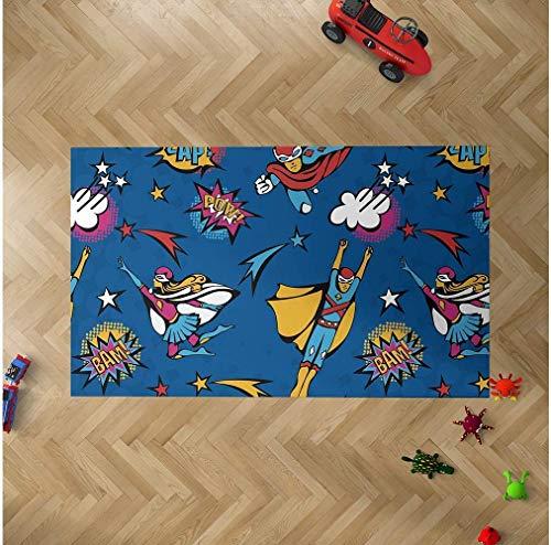 Oedim Alfombra Infantil Superhéroes Cómic para Habitaciones PVC | 95 x 120 cm |Moqueta PVC | Suelo vinílico | Decoración del Hogar | Suelo Sintasol | Suelo de Protección Infantil |