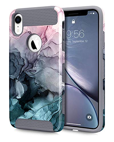 Dailylux iPhone XR Case,Slim Flower Pineapple Design Dual Layer Hybrid High Impact Shockproof Hard Back Bumper Protective Case for Apple iPhone XR 6.1' 2018,Ink Watercolor