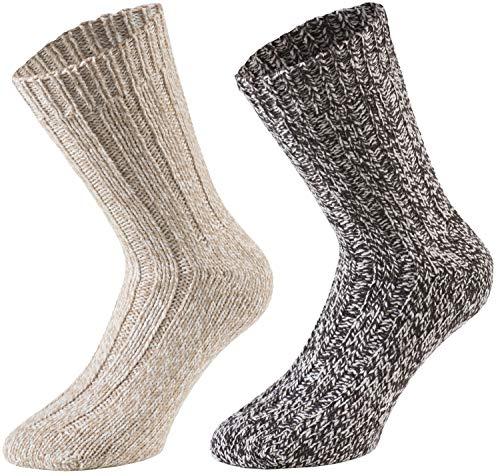 Tobeni 4 Paar warme Damen Herren Norweger Socken Wintersocken Schafwollsocken vorgewaschen Unisex Farbe Natur-Töne Grösse 35-38