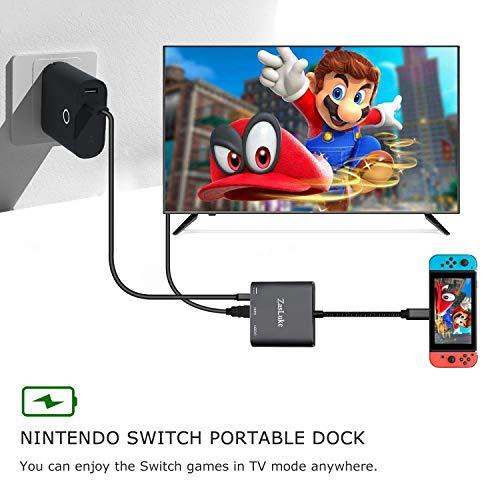 ZasLuke USB C auf HDMI Adapter, USB C Hub Typ C auf HDMI 4K, USB 3.0 Port, USB C Ladeanschluss Konverter Adapter für MacBook, Chromebook Pixel, Samsung Galaxy S8/S9 Plus