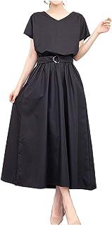 [ライラ] コットン マキシ ワンピース ロング スカート ワンピ 半袖 ベルト付き 4カラー M ~ XL レディース