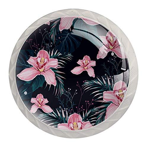 Manijas para cajones Perillas para gabinetes Perillas Redondas Paquete de 4 para armario, cajón, cómoda, cómoda, etc.. Flores Orquídea Tropical