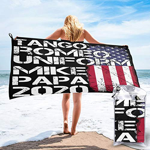 Quick Dry Tango Romeo Uniform Mike PAPA 2020 Beach Towel Easy to Hanging-Sand Free Bath Towels with PVC Packing Bag and Mountaineering Buckle for Swimming