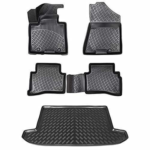 Design Gummimatten & Kofferraumwanne Set für KIA SPORTAGE 4 (QL) ab 2015 | Antirutsch mit hohem 5cm Rand