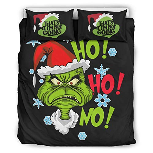 CATNEZA Duvet Set Grinch Christmas Microfibre Soft - Christmas Character 3-Piece Duvet Cover for Boys Bedroom White 168 x 229 cm