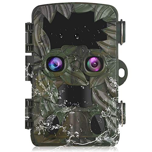 Vmotal Trail Camera Wildlife Game Camera Dual Lens 4K|20MP Starlight Night Vision Motion Activated Game Hunting Camera H8201 for Wildlife Monitoring 2.4''LCD Trigger Speed 0.2s Waterproof IP66