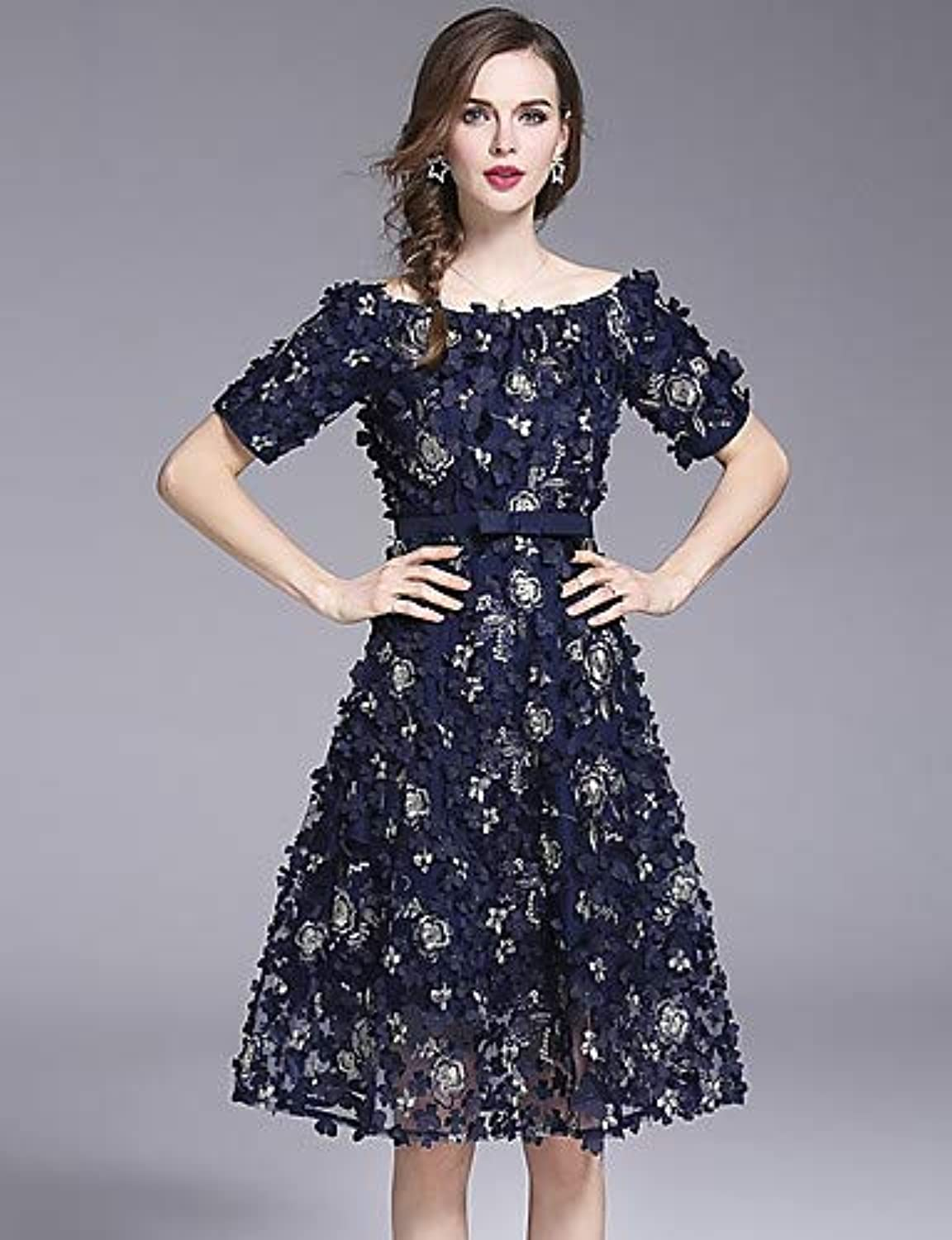 Women's Sophisticated Petal Sleeves Slim A Line Dress  Animal Butterfly, Lace Pleated   Embroidered Boat Neck Spring   Summer Print