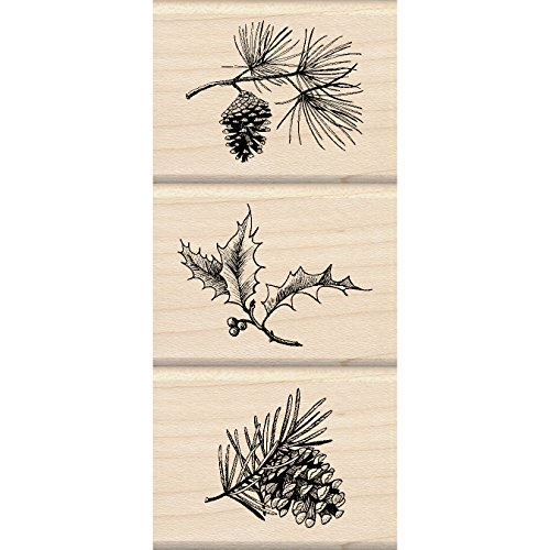 Inkadinkado Holiday Sprigs Wood Stamp Set_60-01139