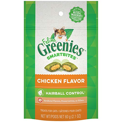 FELINE GREENIES SMARTBITES Hairball Control Cat Treats Chicken Flavor 2.1 oz.