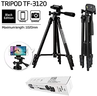 DEEP GLOBAL Foldable Camera and Phone Tripod with Mobile Clip Holder Bracket, Fully Flexible Mount Cum Tripod, Stand with 3D Head & Quick Release Plate, Tripod Camera Stand (3120_Tripod)