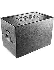 thermohauser Thermobox - Caja térmica para helados (tapa extraalta con termómetro integrado, 63,5 x 42 x 45 cm), color negro