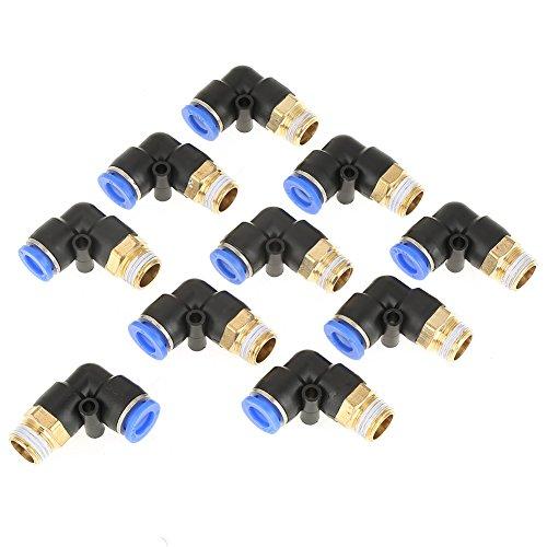10 stücke Pneumatische Ellenbogen Schnellkupplung Air Fittings Adapter Push In zu Verbinden Rohrfitting 8mm Durchmesser Gewinde G1 / 4 Set