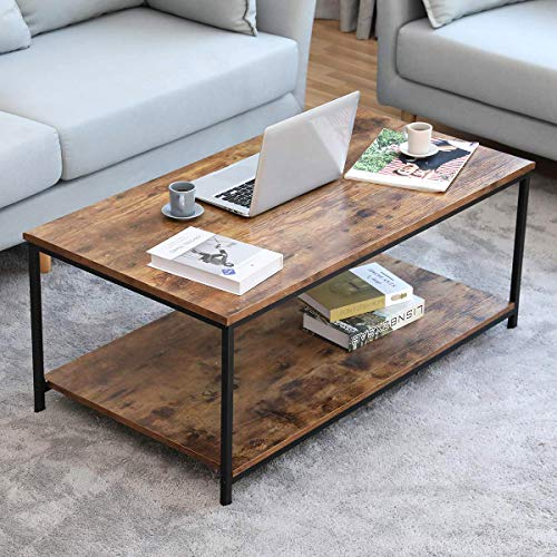 Bonzy Home Industrial Coffee Table with Storage Shelf for Living Room, Vintage Wood Look Accent Furniture with Metal Frame Cocktail Table, Easy Assembly